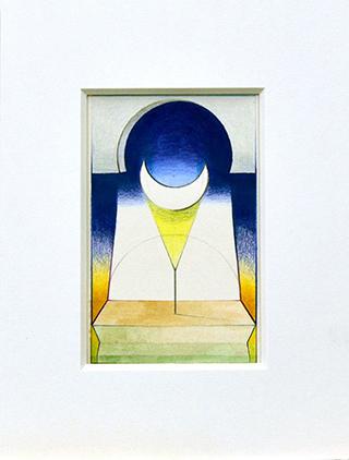 LA LUNA, 2017, Acryl, Pigment und Aquarellstift auf Papier, 14 x 9 cm