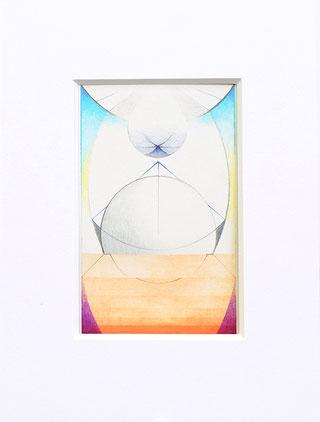 SHIIMTI, 2017, Acryl, Pigment und Aquarellstift auf Papier, 14 x 9 cm