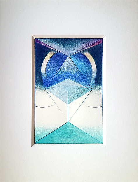 Acryl, Pigment und Aquarellstift auf Papier, 14 x 9 cm