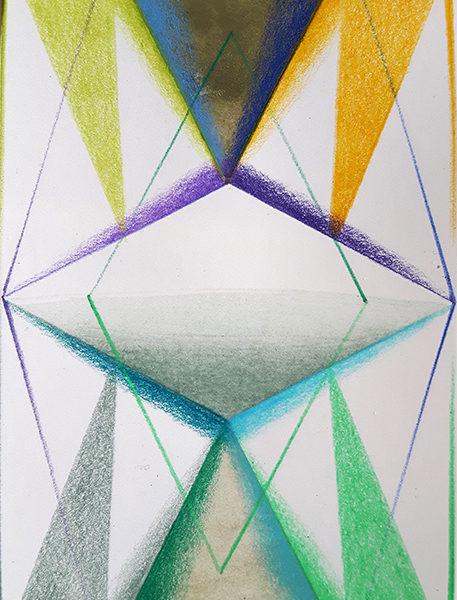 IANUA, Acryl, Pigment und Aquarellstift auf Papier, 14 x 9 cm